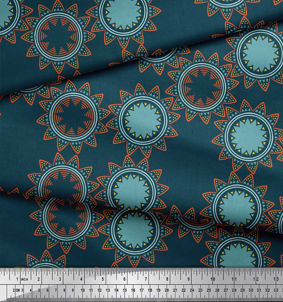 Soimoi-Blue-Cotton-Poplin-Fabric-Sun-Mandala-Print-Fabric-by-metre-Geq thumbnail 3