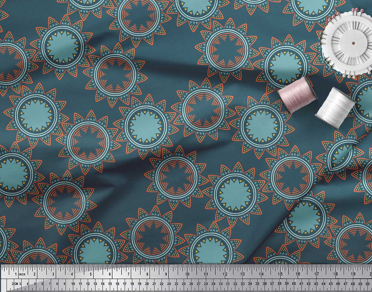 Soimoi-Blue-Cotton-Poplin-Fabric-Sun-Mandala-Print-Fabric-by-metre-Geq thumbnail 4