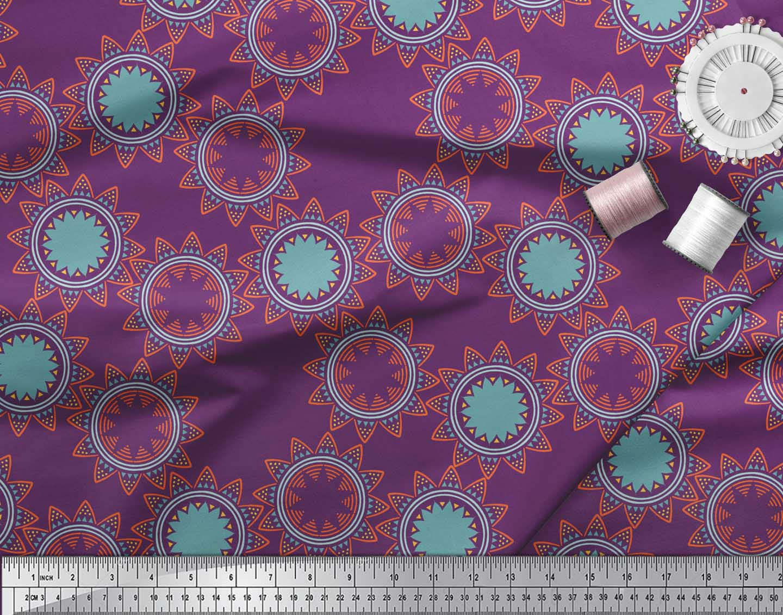 Soimoi-Purple-Cotton-Poplin-Fabric-Sun-Mandala-Print-Fabric-by-the-c6x thumbnail 3