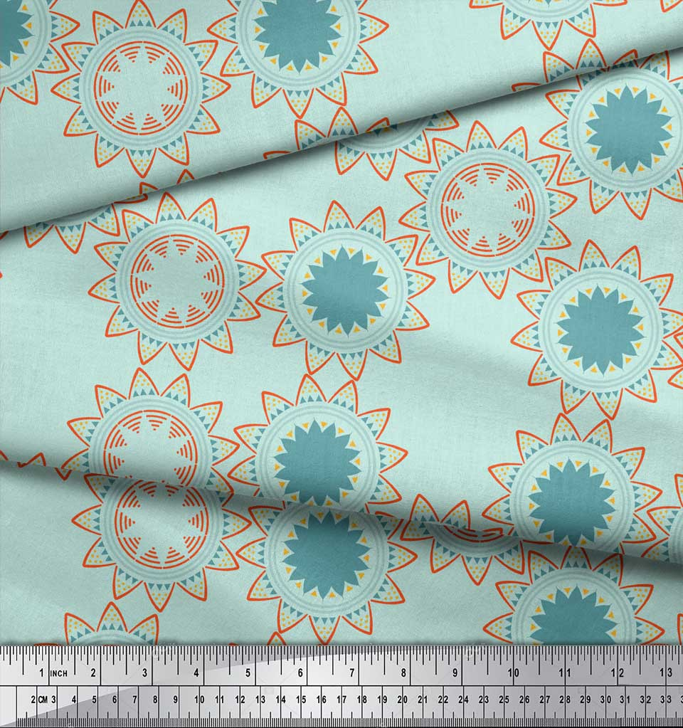Soimoi-Green-Cotton-Poplin-Fabric-Sun-Mandala-Print-Sewing-Fabric-ABS thumbnail 3