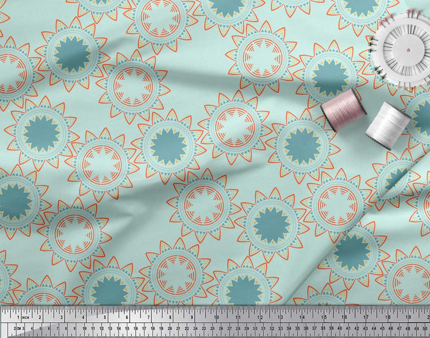 Soimoi-Green-Cotton-Poplin-Fabric-Sun-Mandala-Print-Sewing-Fabric-ABS thumbnail 4