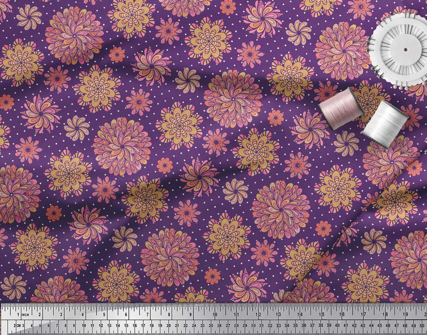Soimoi-Purple-Cotton-Poplin-Fabric-Multicolor-Dot-Mandala-Print-PR4 thumbnail 3