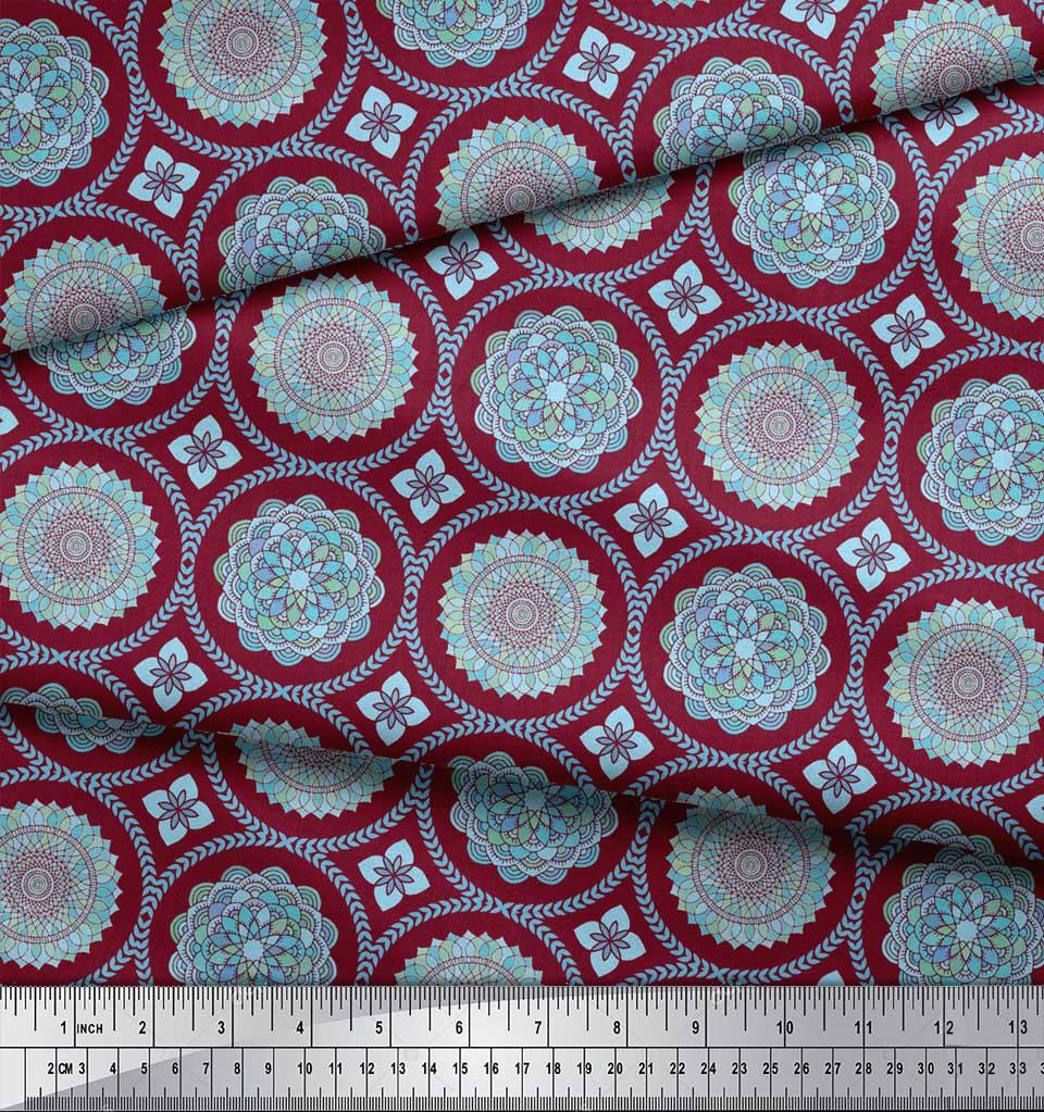 Soimoi-Red-Cotton-Poplin-Fabric-Blue-Mandala-Print-Fabric-by-the-xpu thumbnail 3