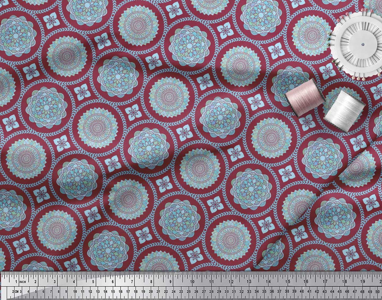 Soimoi-Red-Cotton-Poplin-Fabric-Blue-Mandala-Print-Fabric-by-the-xpu thumbnail 4