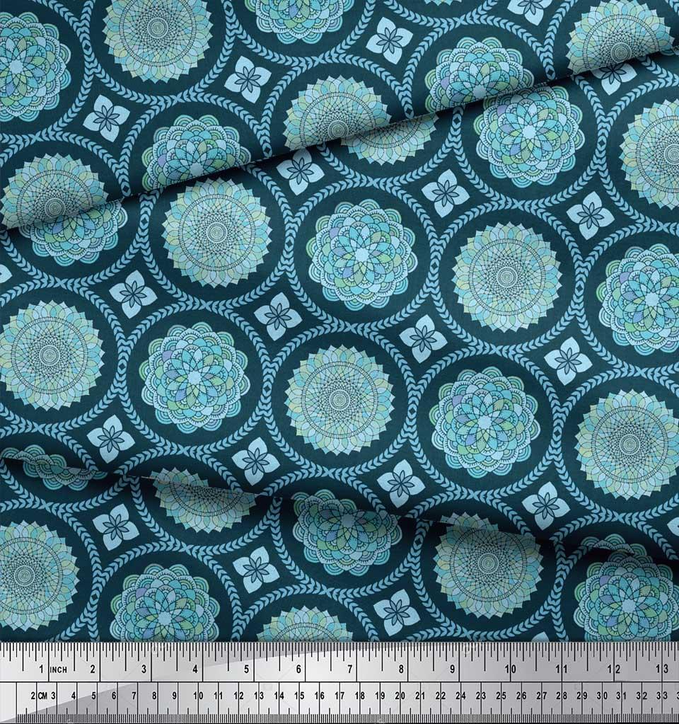 Soimoi-Blue-Cotton-Poplin-Fabric-Blue-Mandala-Fabric-Prints-By-metre-fNs thumbnail 3