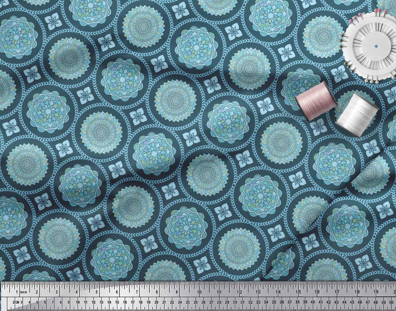 Soimoi-Blue-Cotton-Poplin-Fabric-Blue-Mandala-Fabric-Prints-By-metre-fNs thumbnail 4