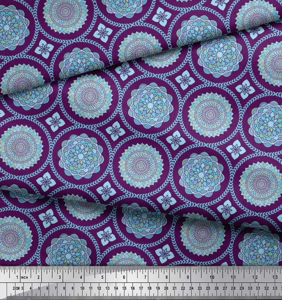Soimoi-Purple-Cotton-Poplin-Fabric-Blue-Mandala-Decor-Fabric-Printed-p8w thumbnail 4