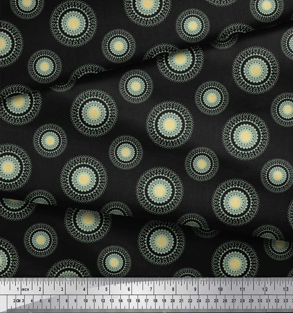 Soimoi-Black-Cotton-Poplin-Fabric-Artistic-Flower-Mandala-Printed-rV6 thumbnail 4