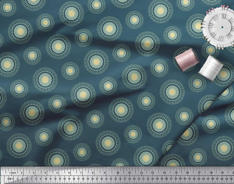 Soimoi-Blue-Cotton-Poplin-Fabric-Artistic-Flower-Mandala-Printed-j4v thumbnail 3