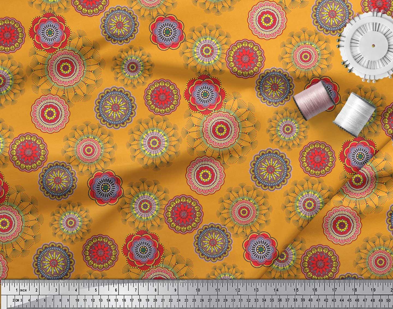 Soimoi-Orange-Cotton-Poplin-Fabric-Artistic-Flower-Mandala-Print-cDC thumbnail 3