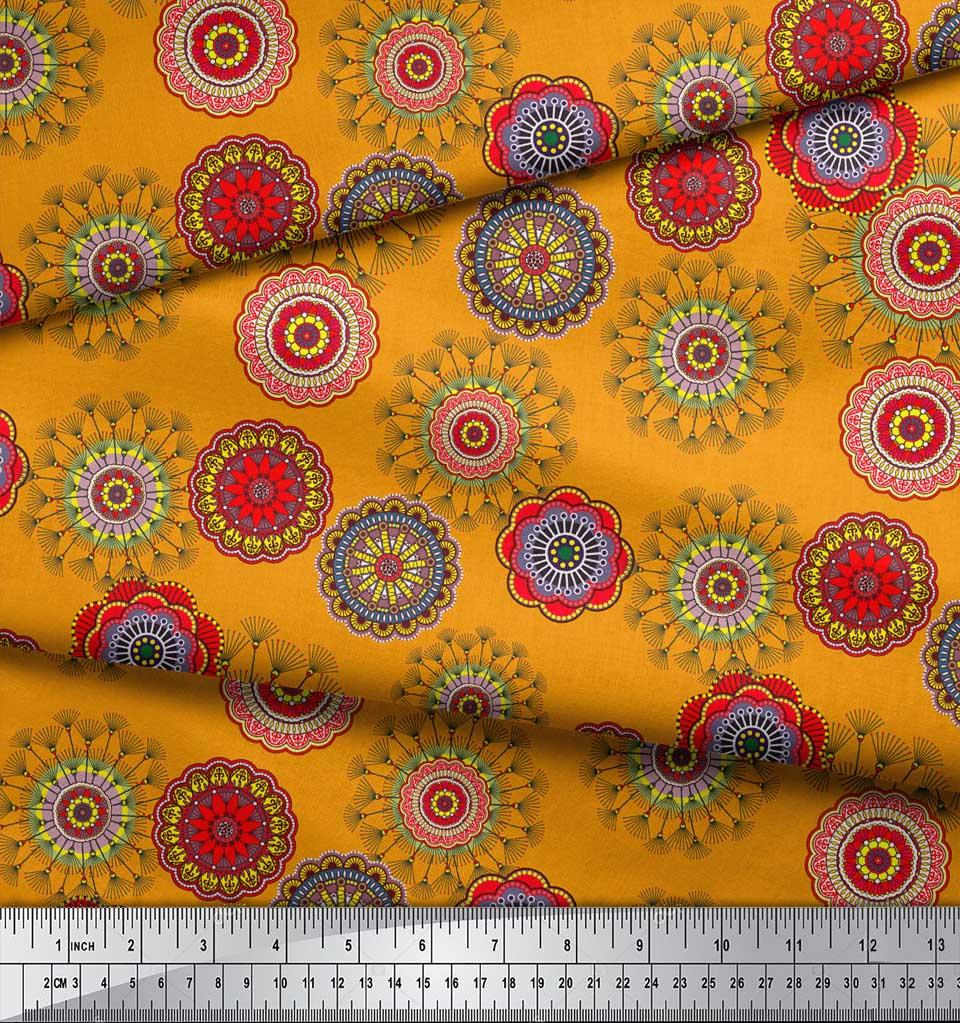 Soimoi-Orange-Cotton-Poplin-Fabric-Artistic-Flower-Mandala-Print-cDC thumbnail 4