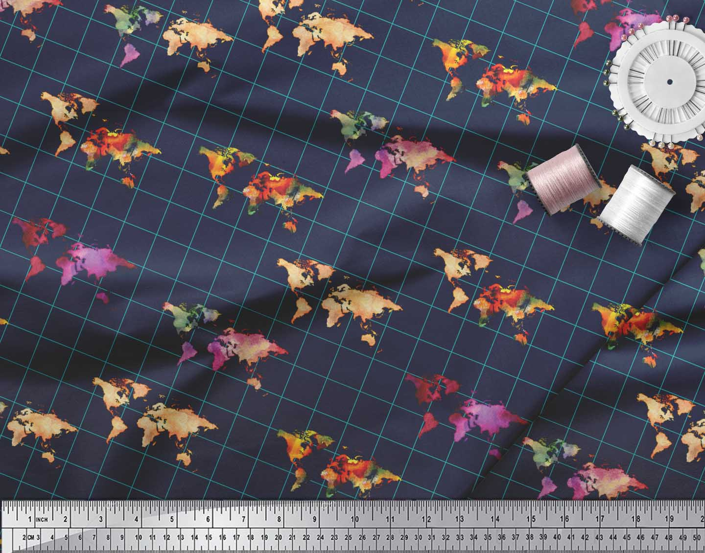Soimoi-Blue-Cotton-Poplin-Fabric-Check-amp-World-Map-Print-Fabric-Npk thumbnail 3