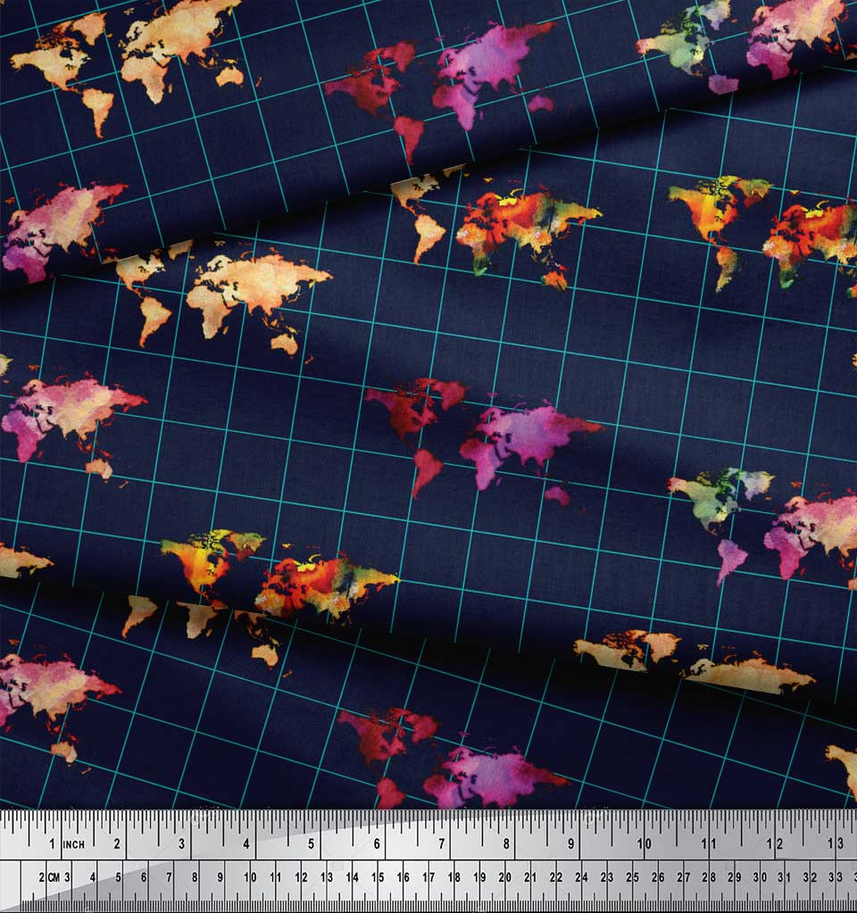 Soimoi-Blue-Cotton-Poplin-Fabric-Check-amp-World-Map-Print-Fabric-Npk thumbnail 4