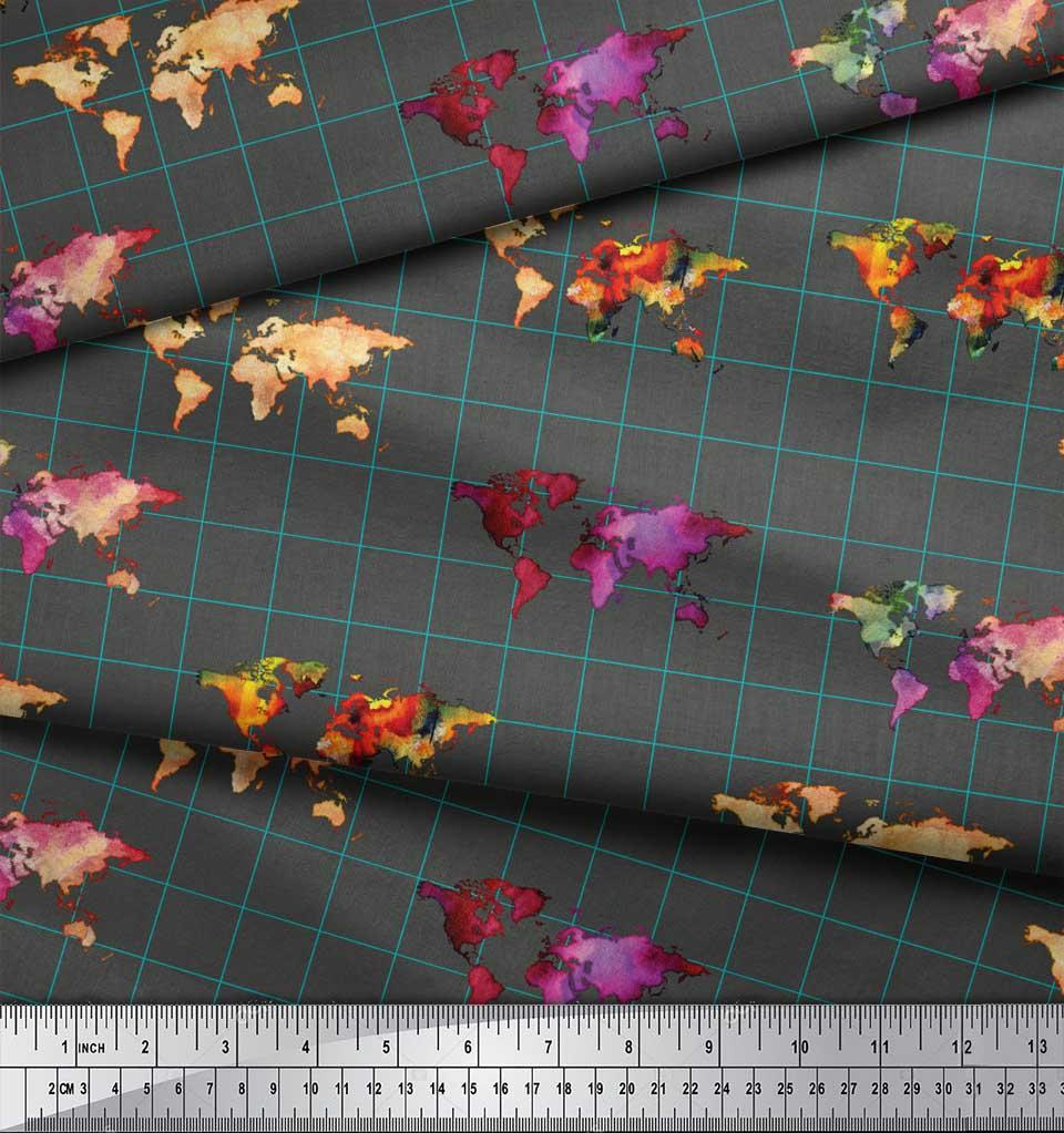 Soimoi-Gray-Cotton-Poplin-Fabric-Check-amp-World-Map-Print-Fabric-p6d thumbnail 3