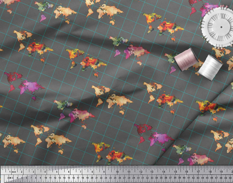 Soimoi-Gray-Cotton-Poplin-Fabric-Check-amp-World-Map-Print-Fabric-p6d thumbnail 4
