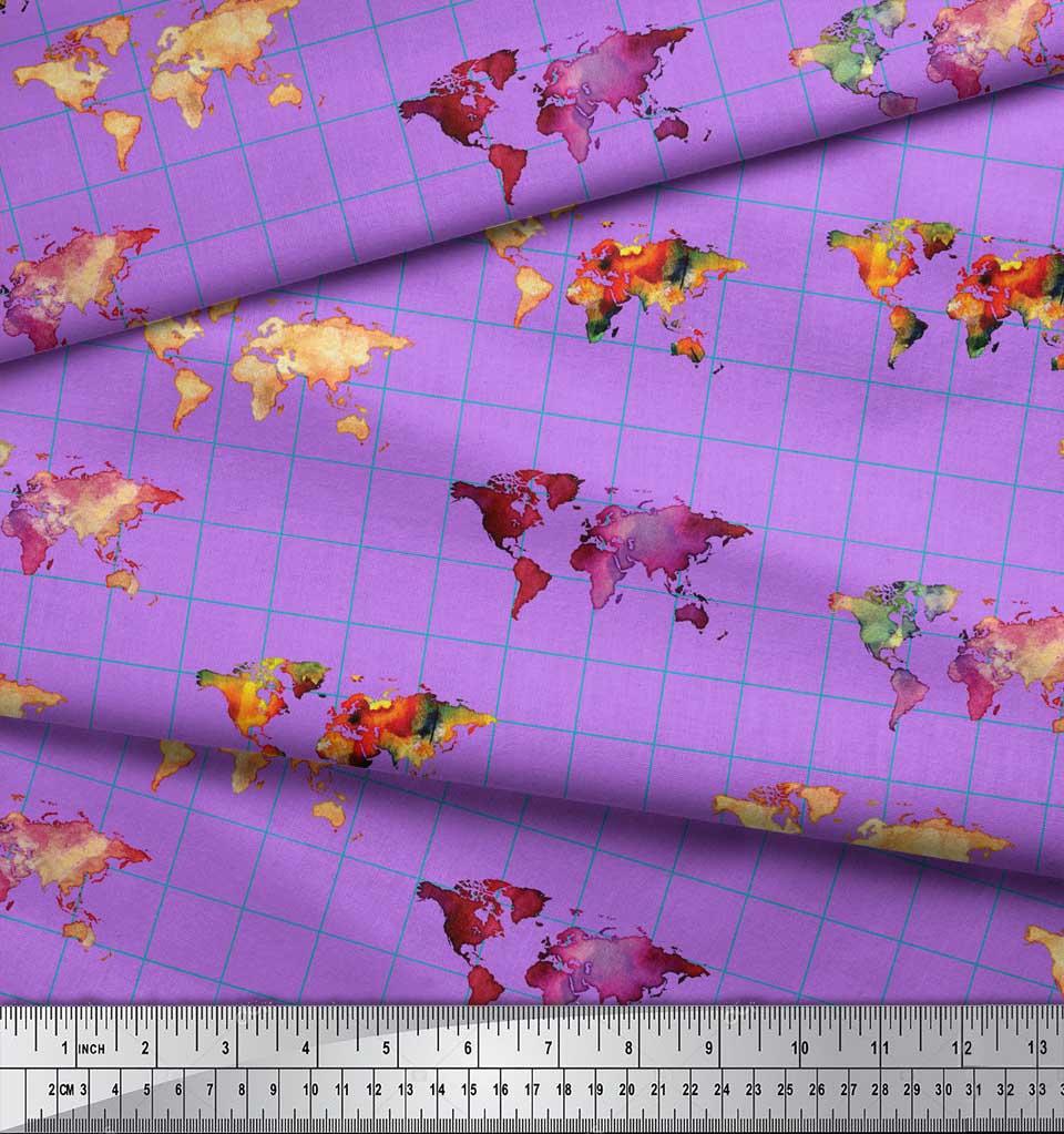 Soimoi-Purple-Cotton-Poplin-Fabric-Check-amp-World-Map-Print-Fabric-H3x thumbnail 3