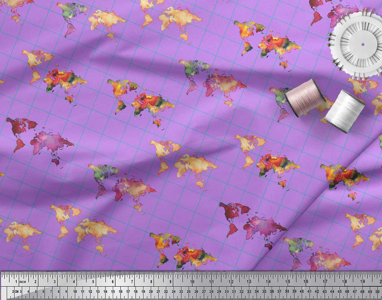 Soimoi-Purple-Cotton-Poplin-Fabric-Check-amp-World-Map-Print-Fabric-H3x thumbnail 4