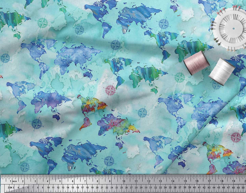 Soimoi-Green-Cotton-Poplin-Fabric-Direction-Compass-amp-World-Map-weM thumbnail 3