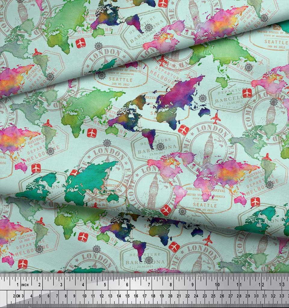 Soimoi-Green-Cotton-Poplin-Fabric-Stamp-amp-World-Map-Printed-Craft-kUh thumbnail 3