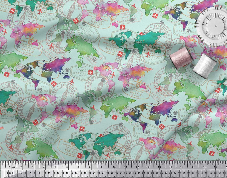 Soimoi-Green-Cotton-Poplin-Fabric-Stamp-amp-World-Map-Printed-Craft-kUh thumbnail 4