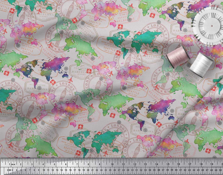 Soimoi-Gray-Cotton-Poplin-Fabric-Stamp-amp-World-Map-Printed-Craft-421 thumbnail 3