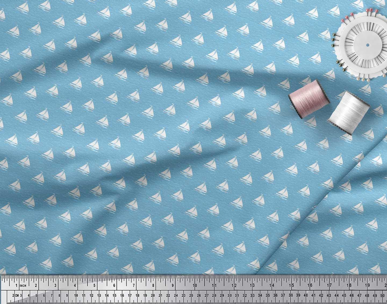 Soimoi-Blue-Cotton-Poplin-Fabric-Yacht-amp-Waves-Nautical-Decor-Fabric-meD thumbnail 3
