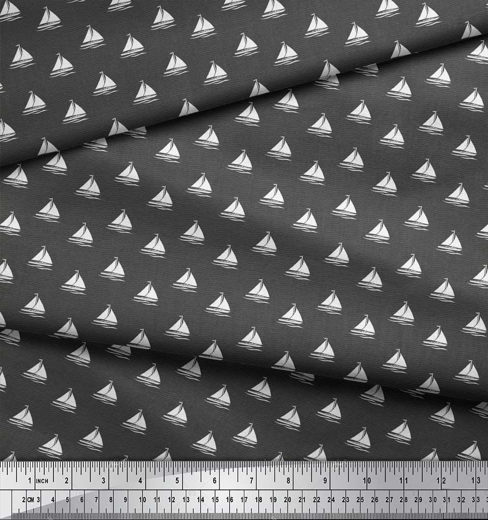 Soimoi-Gray-Cotton-Poplin-Fabric-Yacht-amp-Waves-Nautical-Fabric-Prints-Mc8 thumbnail 4