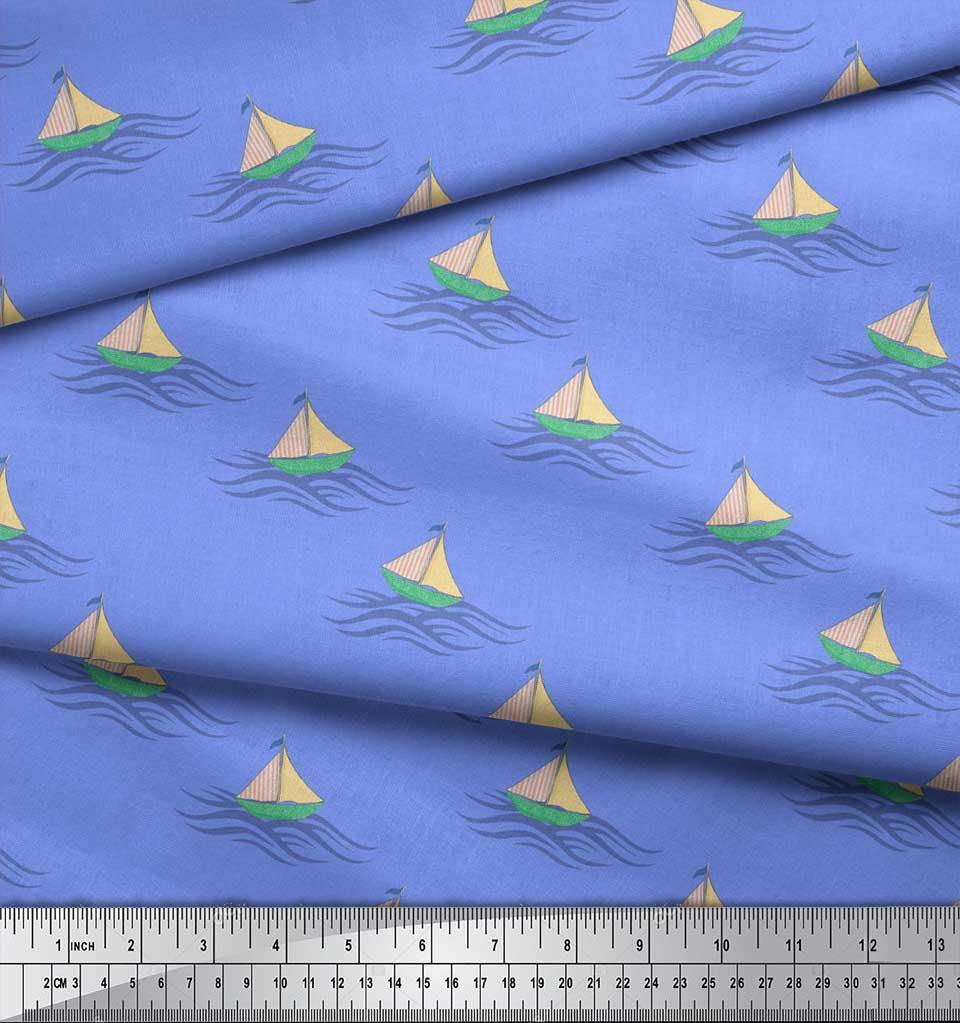 Soimoi-Blue-Cotton-Poplin-Fabric-Yacht-amp-Waves-Nautical-Decor-Fabric-v1g thumbnail 3