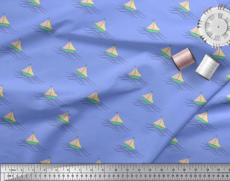Soimoi-Blue-Cotton-Poplin-Fabric-Yacht-amp-Waves-Nautical-Decor-Fabric-v1g thumbnail 4