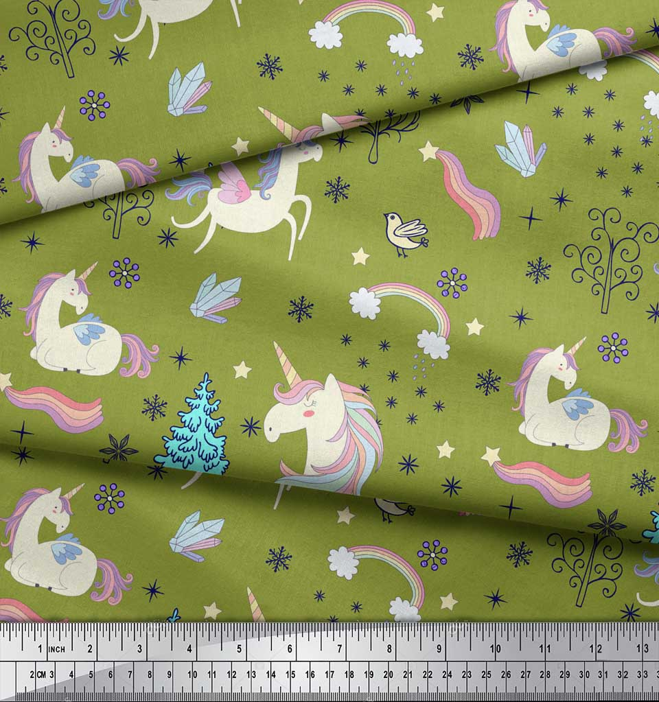 Soimoi-Green-Cotton-Poplin-Fabric-Unicorn-amp-Rainbow-Nature-Decor-Qw6 thumbnail 4