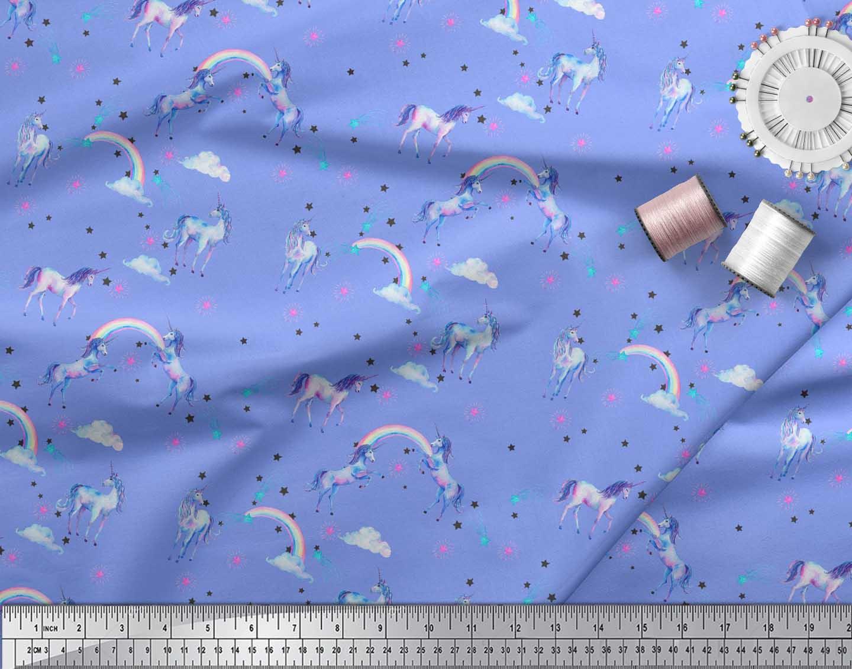 Soimoi-Blue-Cotton-Poplin-Fabric-Unicorn-amp-Rainbow-Nature-Decor-8JN thumbnail 4