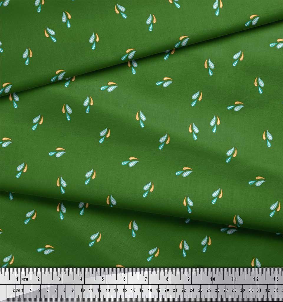 Soimoi-Green-Cotton-Poplin-Fabric-Colourful-Water-Drops-Nature-Fabric-Bi3 thumbnail 3