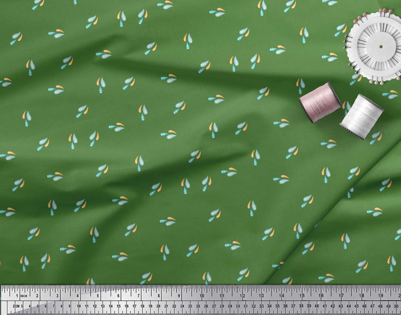 Soimoi-Green-Cotton-Poplin-Fabric-Colourful-Water-Drops-Nature-Fabric-Bi3 thumbnail 4