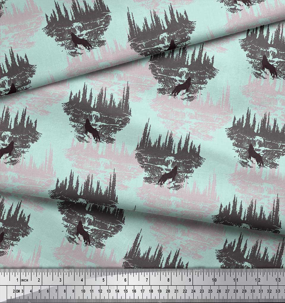 Soimoi-Green-Cotton-Poplin-Fabric-Wolf-amp-Landscape-Nature-Printed-9Wo thumbnail 3