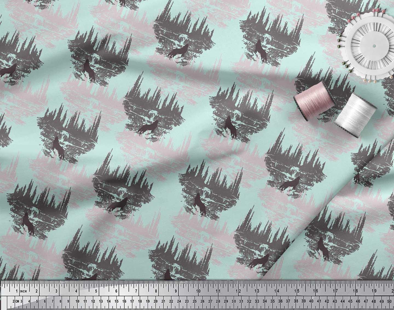 Soimoi-Green-Cotton-Poplin-Fabric-Wolf-amp-Landscape-Nature-Printed-9Wo thumbnail 4