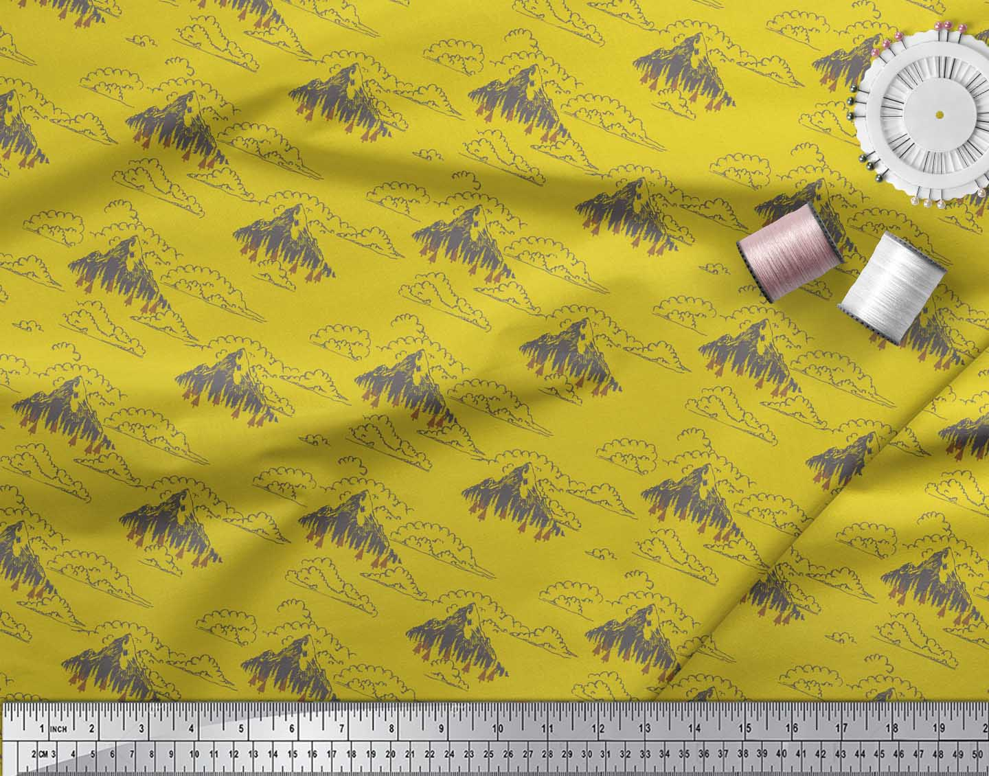 Soimoi-Yellow-Cotton-Poplin-Fabric-Cedar-Tree-amp-Mountain-Nature-Gjt thumbnail 3