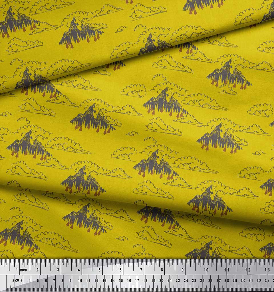 Soimoi-Yellow-Cotton-Poplin-Fabric-Cedar-Tree-amp-Mountain-Nature-Gjt thumbnail 4