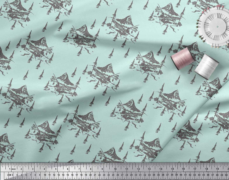 Soimoi-Green-Cotton-Poplin-Fabric-Cedar-Tree-amp-Mountain-Nature-Print-o1Q thumbnail 3