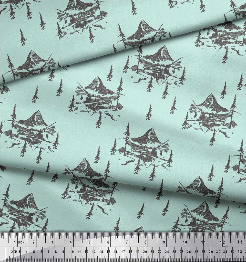 Soimoi-Green-Cotton-Poplin-Fabric-Cedar-Tree-amp-Mountain-Nature-Print-o1Q thumbnail 4