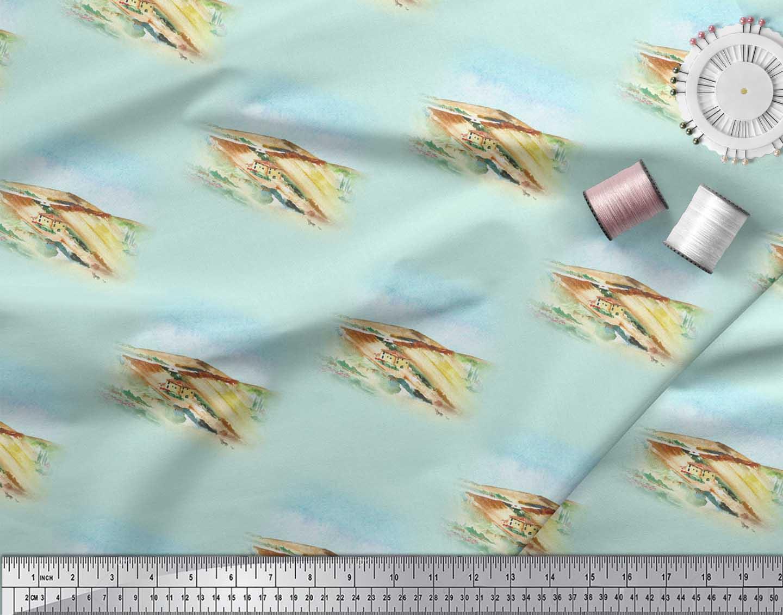 Soimoi-Green-Cotton-Poplin-Fabric-House-amp-Landscape-Nature-Fabric-z5G thumbnail 4