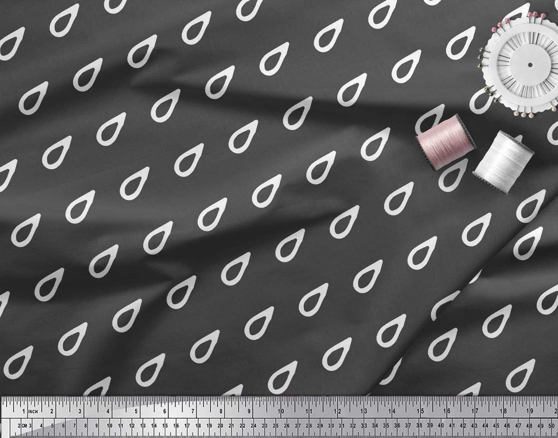Soimoi-Gray-Cotton-Poplin-Fabric-Waterdrops-Nature-Printed-Fabric-48E thumbnail 4