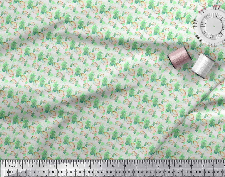 Soimoi-Green-Cotton-Poplin-Fabric-Shells-Ocean-Printed-Craft-Fabric-jwH thumbnail 3