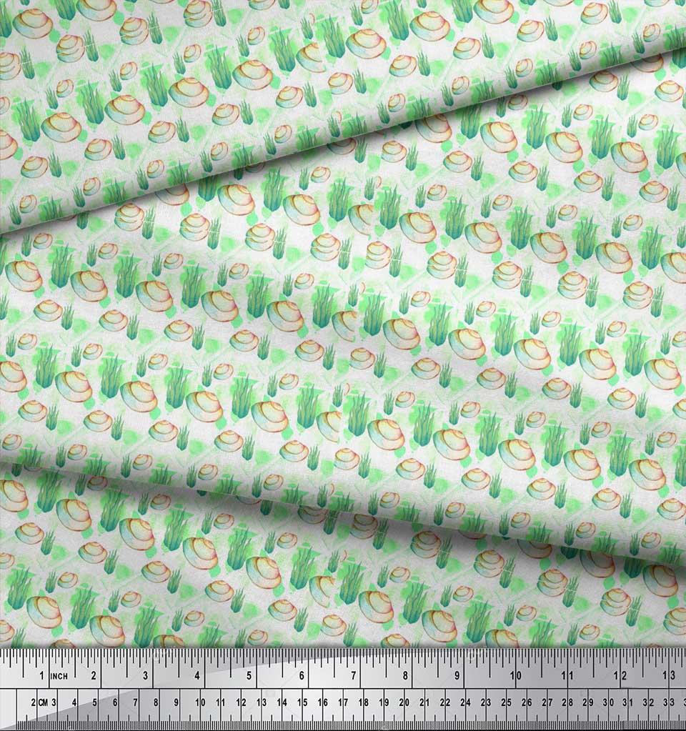 Soimoi-Green-Cotton-Poplin-Fabric-Shells-Ocean-Printed-Craft-Fabric-jwH thumbnail 4