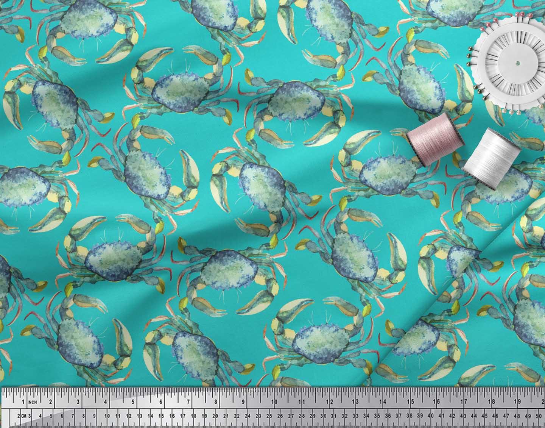 Soimoi-Green-Cotton-Poplin-Fabric-Crabs-Ocean-Print-Fabric-by-the-2Jx thumbnail 3