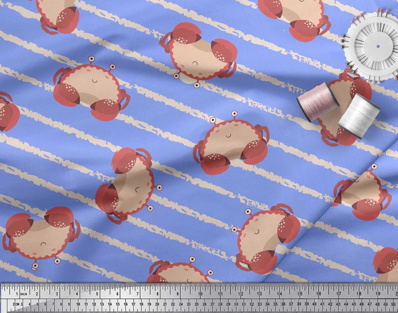 Soimoi-Blue-Cotton-Poplin-Fabric-Crabs-Ocean-Fabric-Prints-By-Yard-7H1 thumbnail 3