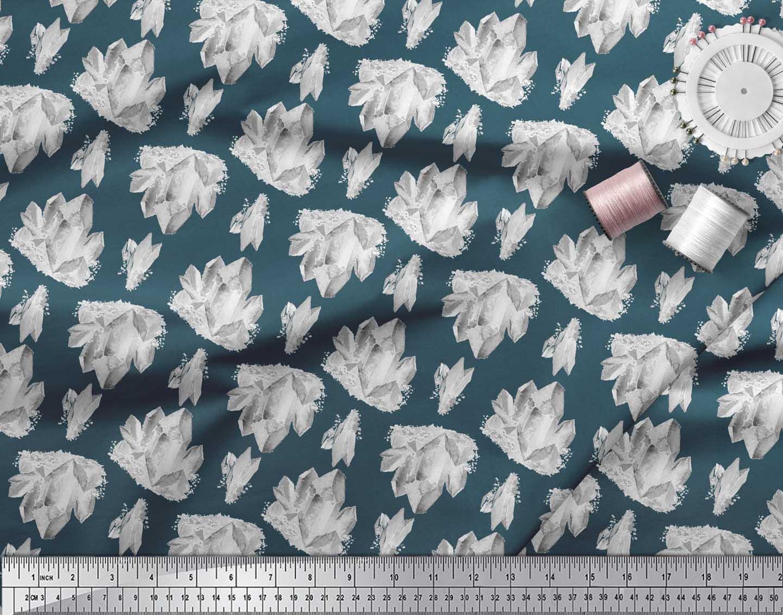 Soimoi-Blue-Cotton-Poplin-Fabric-Iceberg-Ocean-Print-Fabric-by-the-inM thumbnail 4