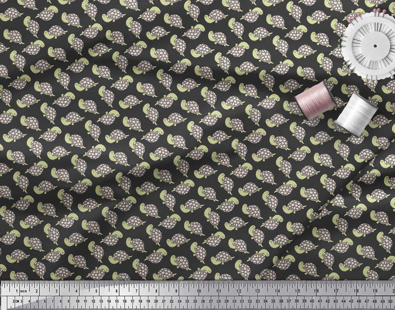 Soimoi-Black-Cotton-Poplin-Fabric-Tortoise-Ocean-Print-Fabric-by-sNS thumbnail 3