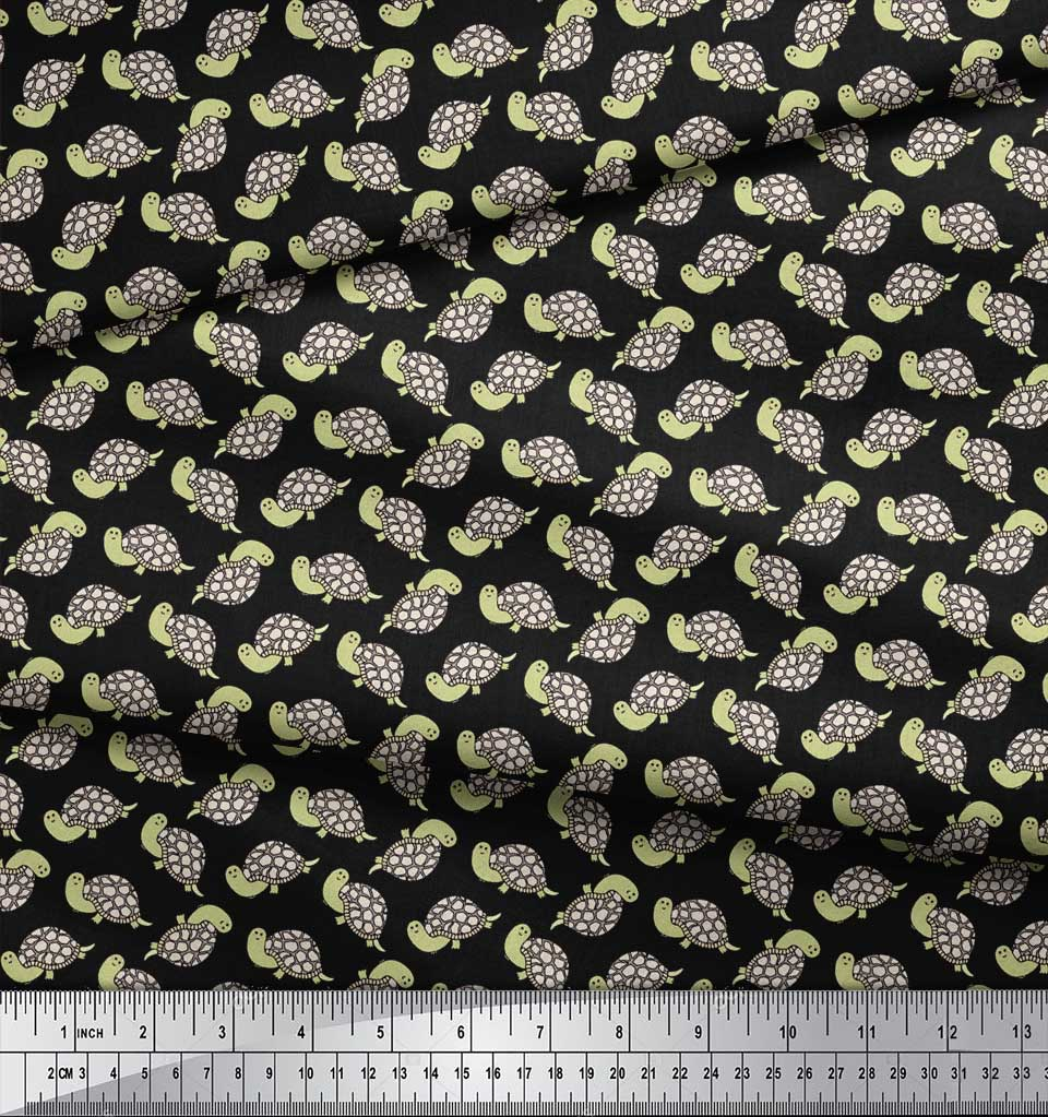 Soimoi-Black-Cotton-Poplin-Fabric-Tortoise-Ocean-Print-Fabric-by-sNS thumbnail 4