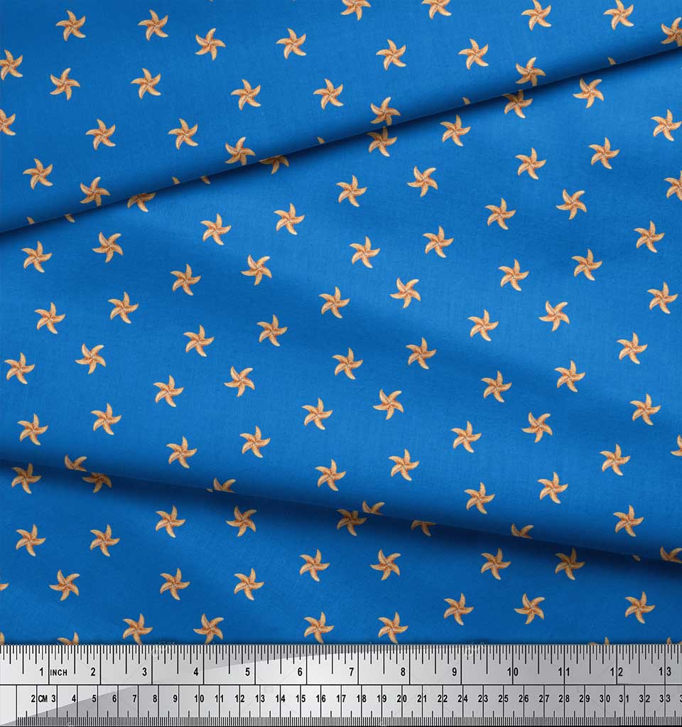 Soimoi-Blue-Cotton-Poplin-Fabric-Starfish-Ocean-Printed-Fabric-1-hVd thumbnail 3