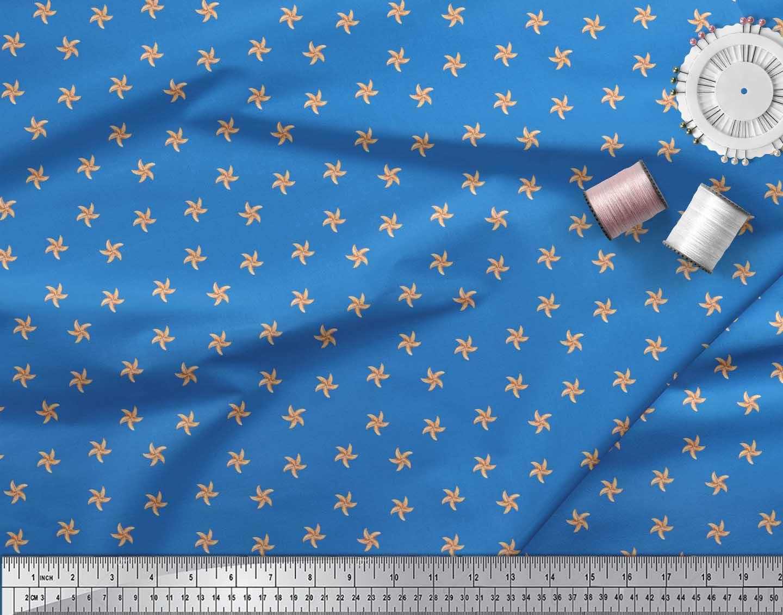 Soimoi-Blue-Cotton-Poplin-Fabric-Starfish-Ocean-Printed-Fabric-1-hVd thumbnail 4